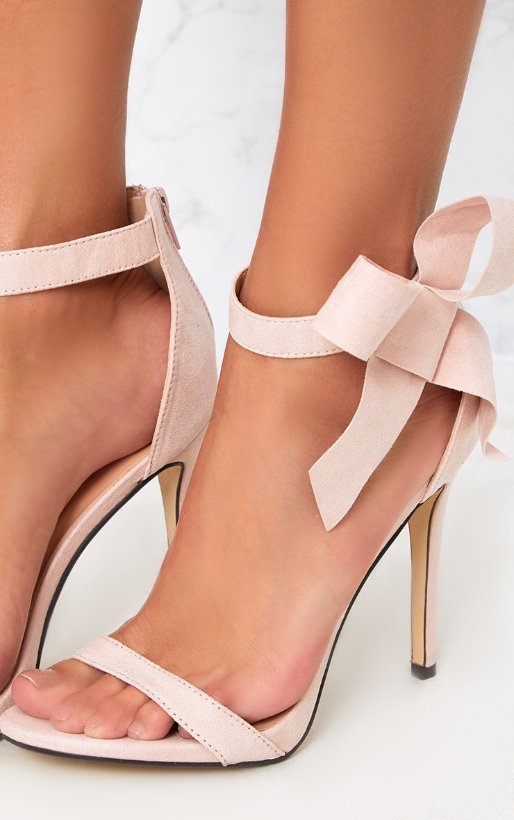 Blush Bow Detail Strappy Heels 5