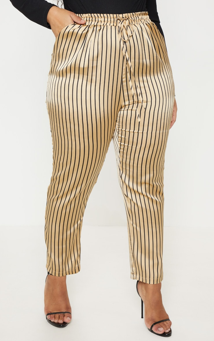 Plus Stone Stripe Casual Trousers 2