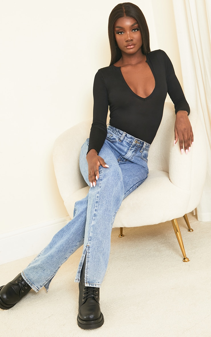 Tall Black Basic Plunge Long Sleeve Bodysuit 3