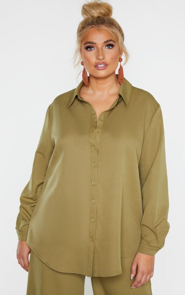 Plus Khaki Oversized Shirt 1