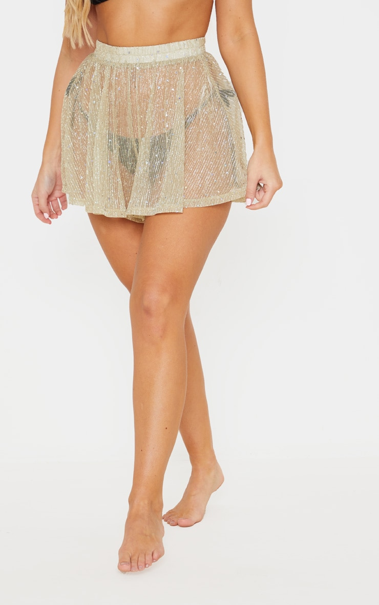 Gold Metallic Plisse Sequin Beach Short 2