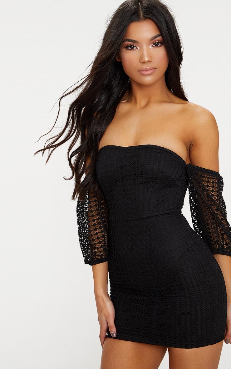 Black Crochet Bardot Balloon Sleeve Bodycon Dress  1
