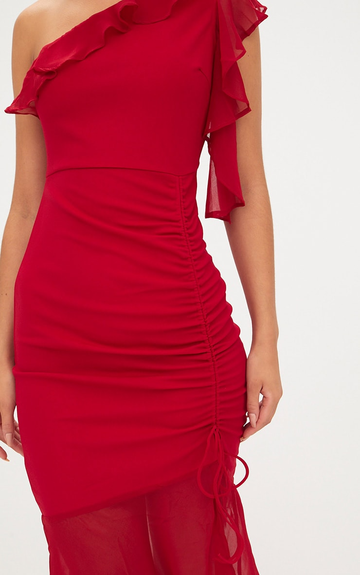 Red Ruched Detail Frill One Shoulder Midi Dress 5