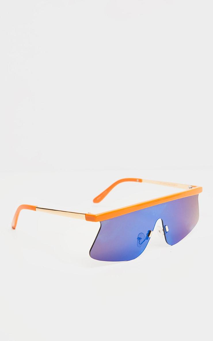 Orange Flat Top Revo Sporty Sunglasses 3