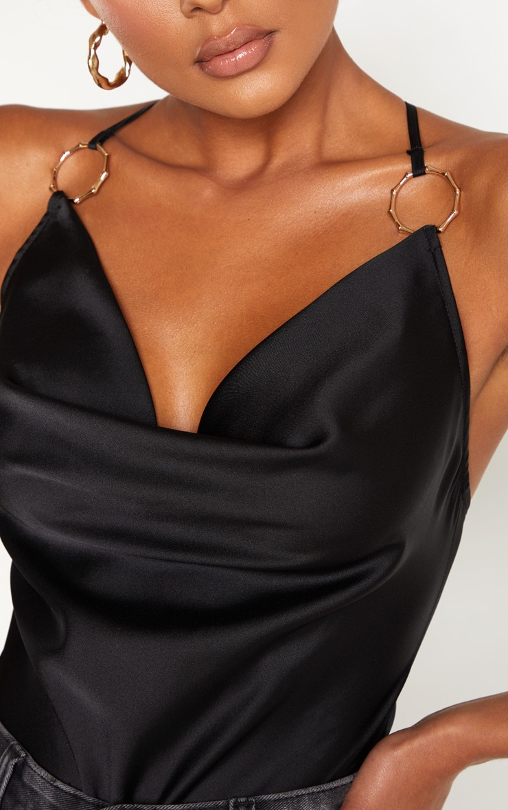Black Satin Cowl Neck Ring Detail Bodysuit  6