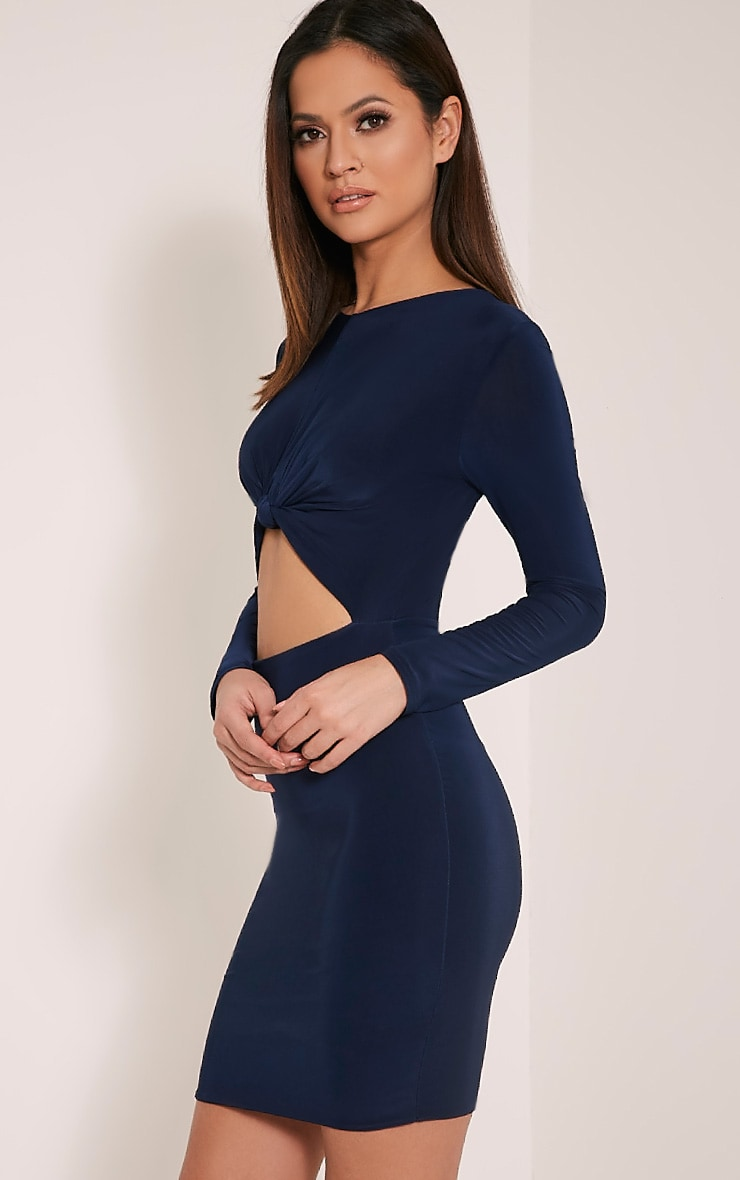 Zafia Navy Long Sleeve Mini Dress 5