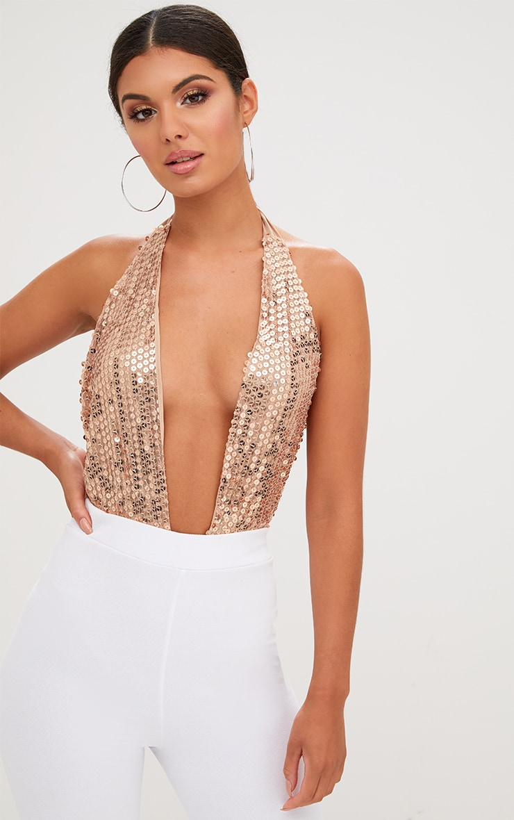 Louella Gold Plunge Halterneck Sequin Thong Bodysuit 1