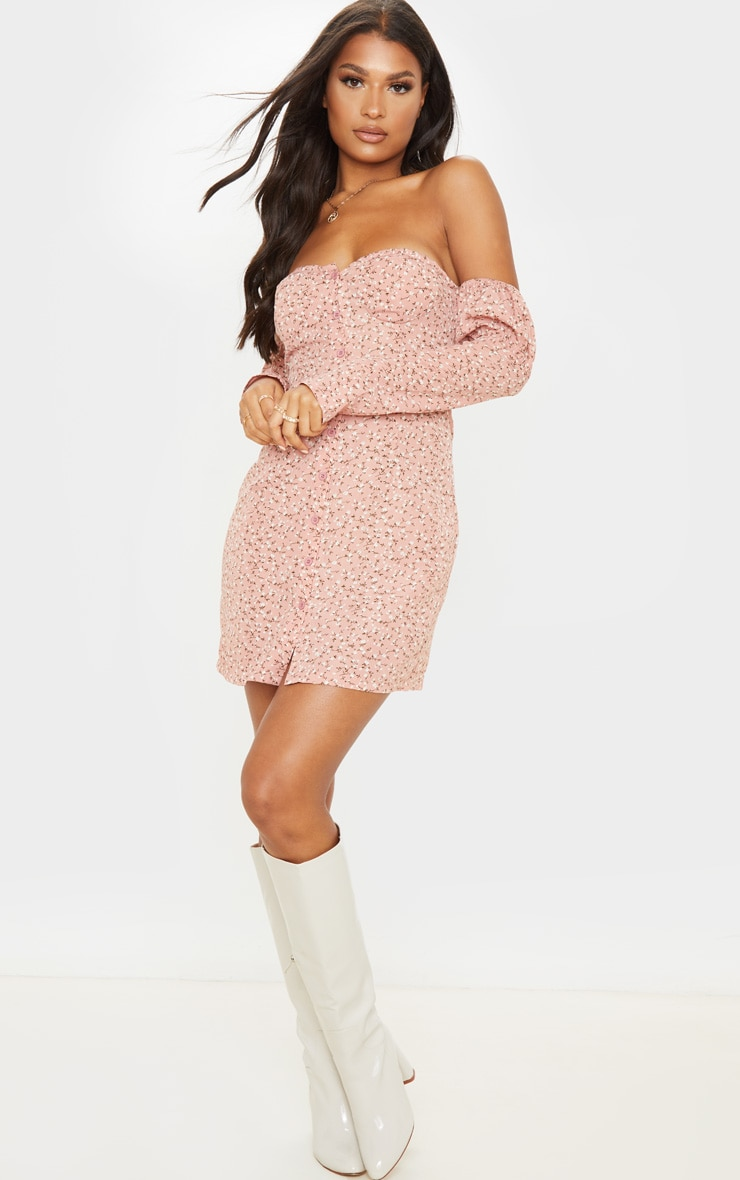 Pink Ditsy Floral Cup Detail Button Front Shift Dress 4