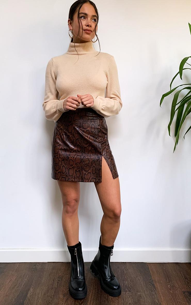 Brown Snake Faux Leather Split Front Mini Skirt 1