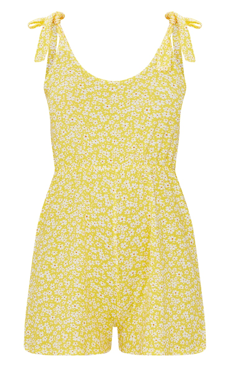 Yellow Floral Print Tie Strap Smock Playsuit 5