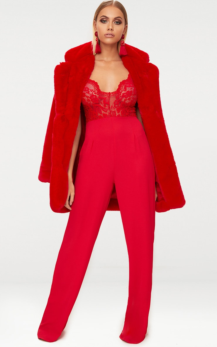 6454ade77c5 Red Lace Wide Leg Jumpsuit image 1