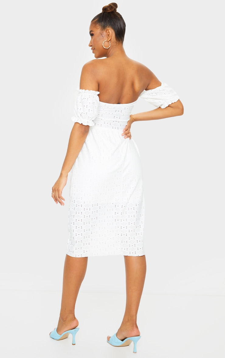 White Broderie Anglaise Cup Detail Bardot Midi Dress 2
