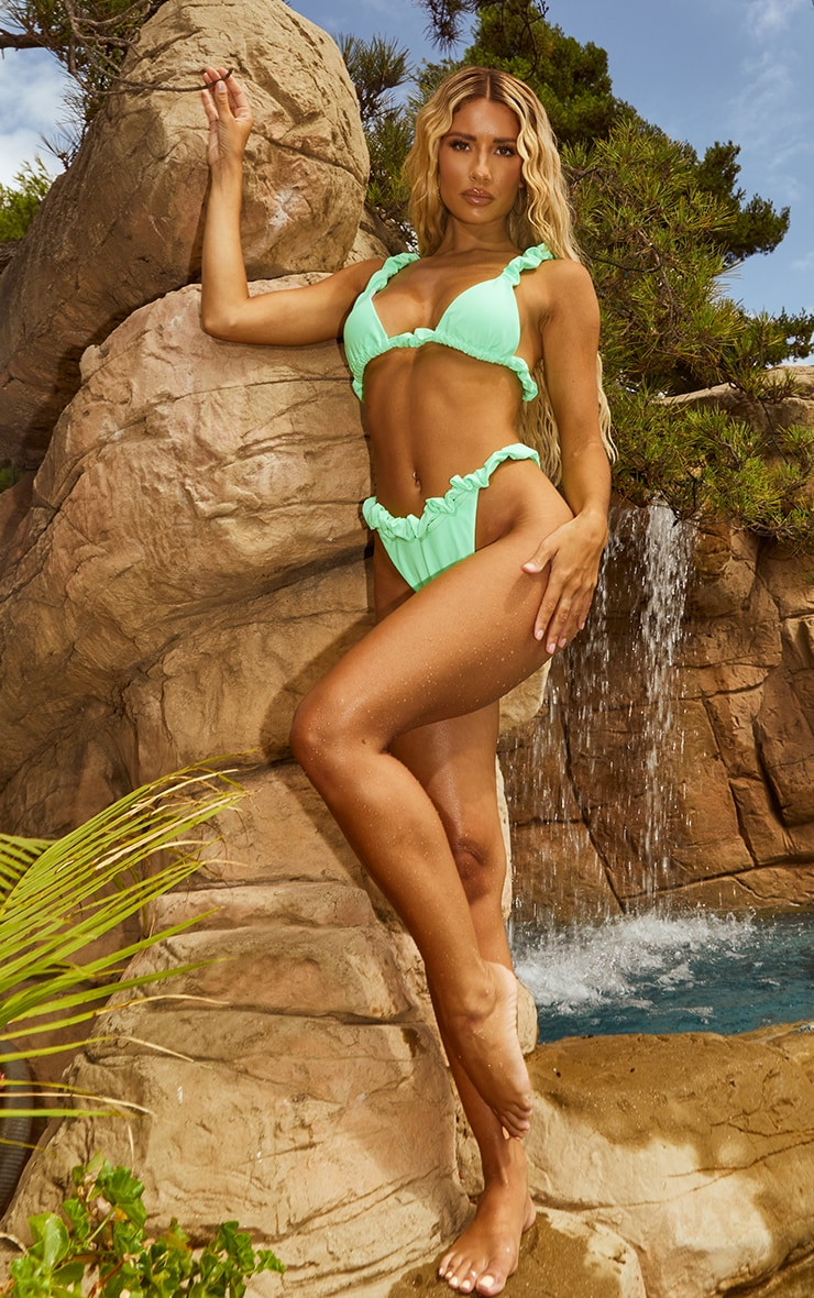 Apple Green Ruched Strap Bikini Top 3