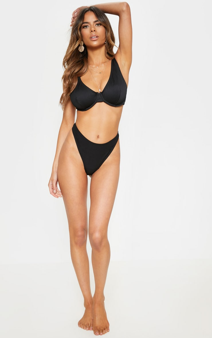 Black Fuller Bust Ribbed Underwired High Apex Bikini Top 4