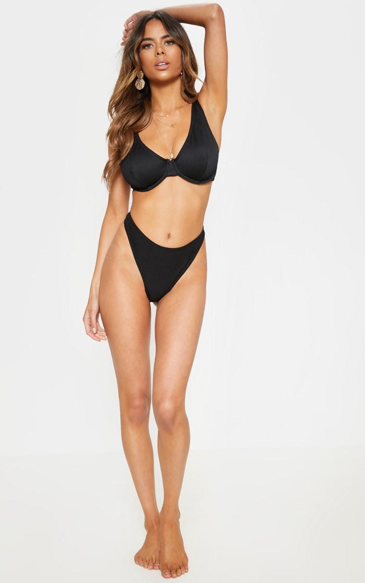 Haut de maillot de bain forte poitrine noir côtelé à armatures 4
