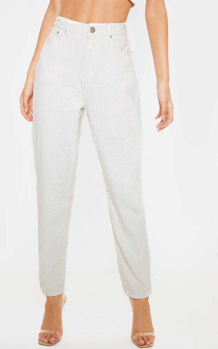 Cream Jumbo Cord Mom Jeans  2