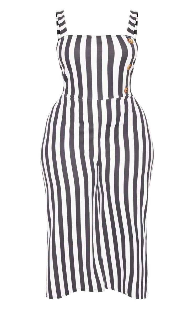 Plus Monochrome Stripe Tortoise Button Culotte Jumpsuit 3