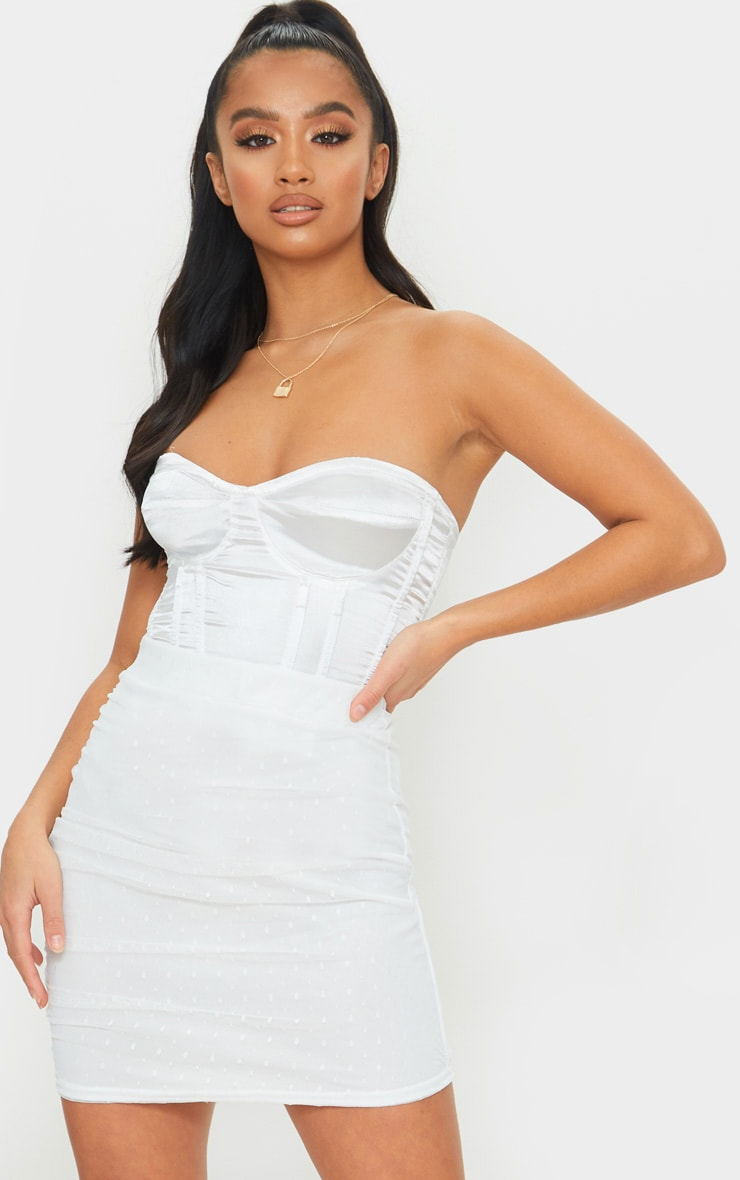 Petite White Oriental Lace Mini Skirt 1
