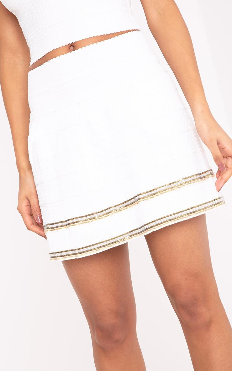 Calvina White Beaded Hem Bandage Skirt  6