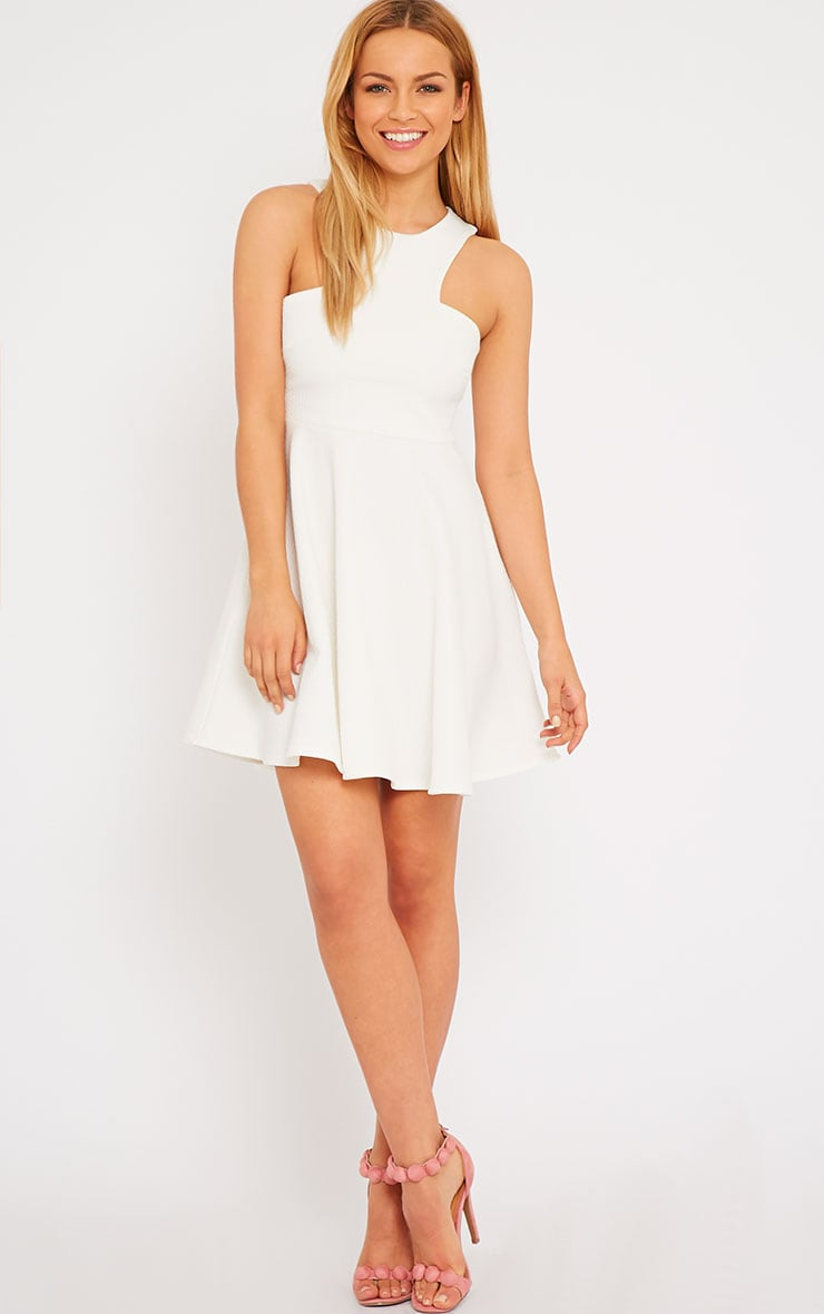 Stacy Cream Textured Racer Neck Skater Dress 3