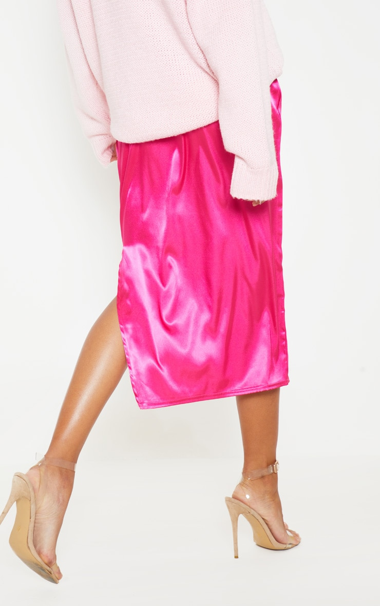 Hot Pink Satin Side Split Midi Skirt 5