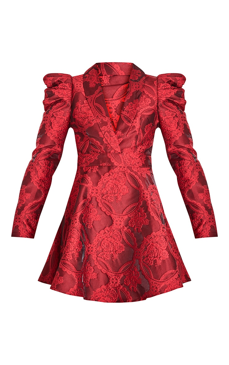 Red Jacquard Puff Sleeve Lapel Detail Skater Dress 5