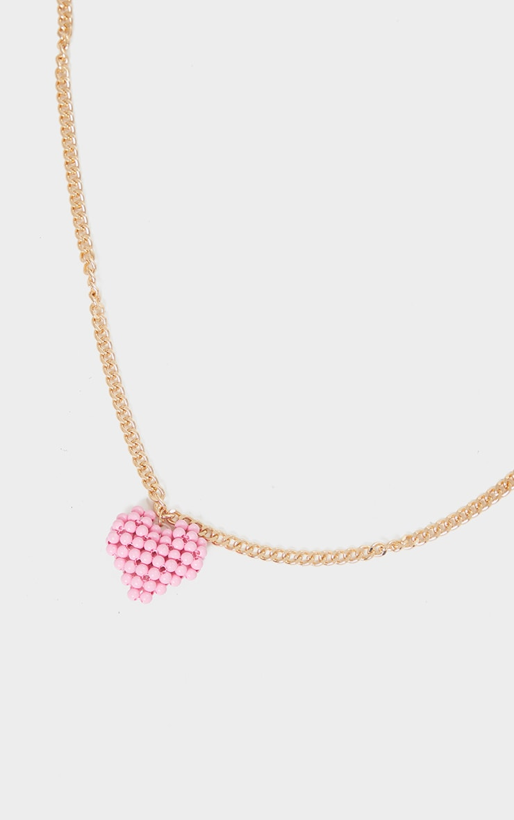 Gold Chain Pink Beaded Heart Necklace 3