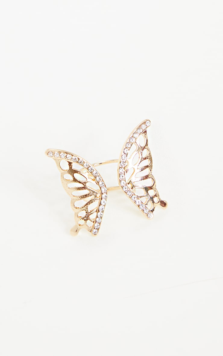 Gold Diamante Butterfly Cut Out Ring 3
