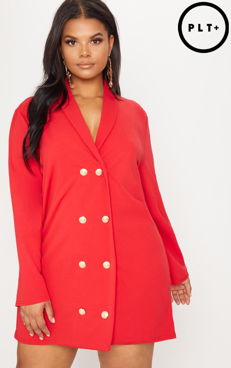 Plus Red Gold Button Oversized Blazer Dress 1