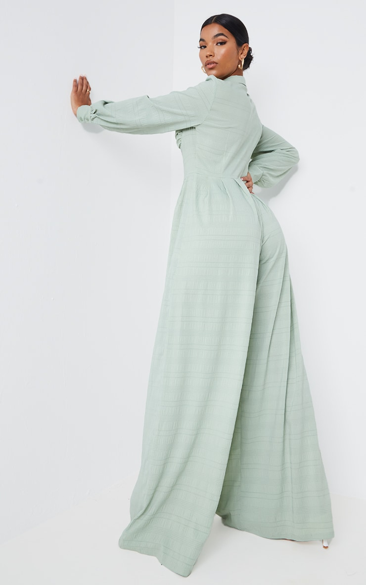 Sage Green Ruched Cup Wide Leg Shirt Jumpsuit 2