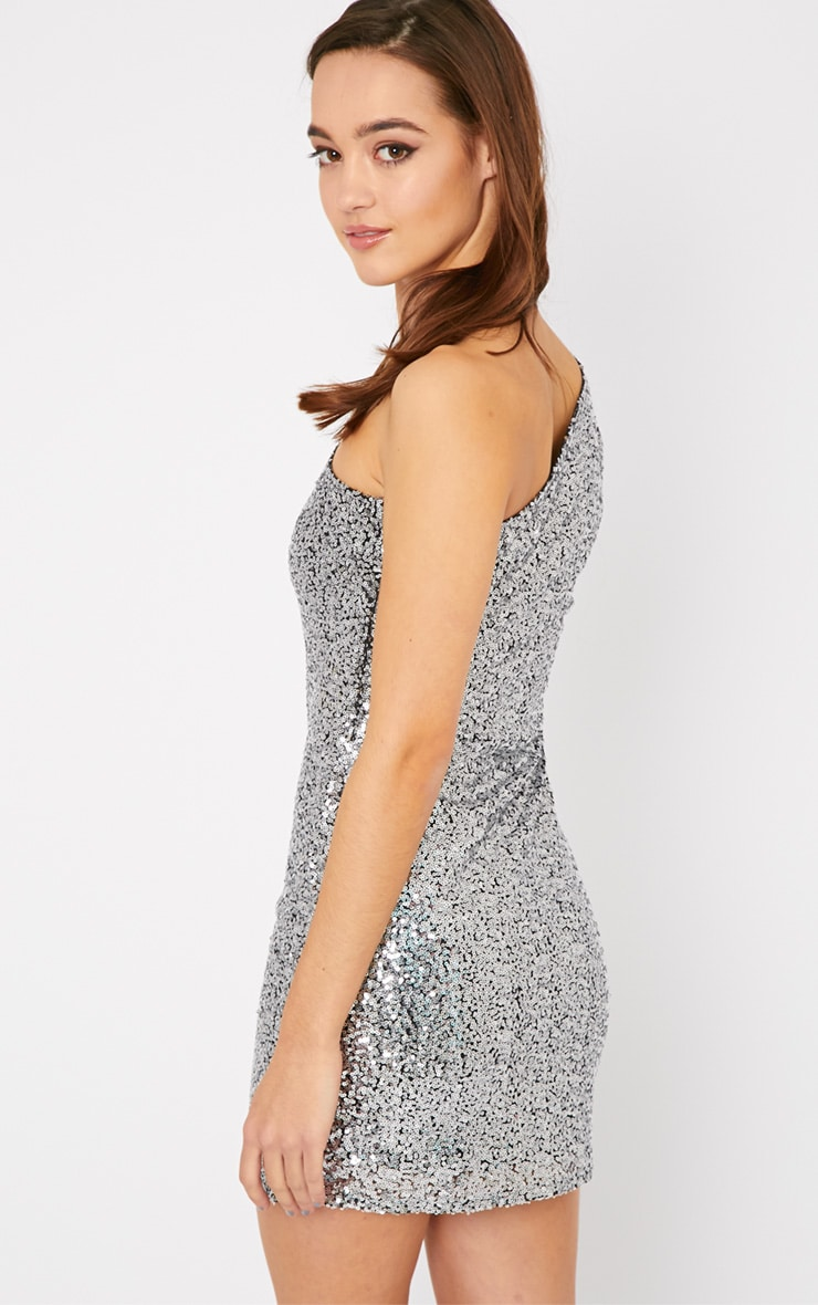 Kisha Silver One Shoulder Sequin Mini Dress 2