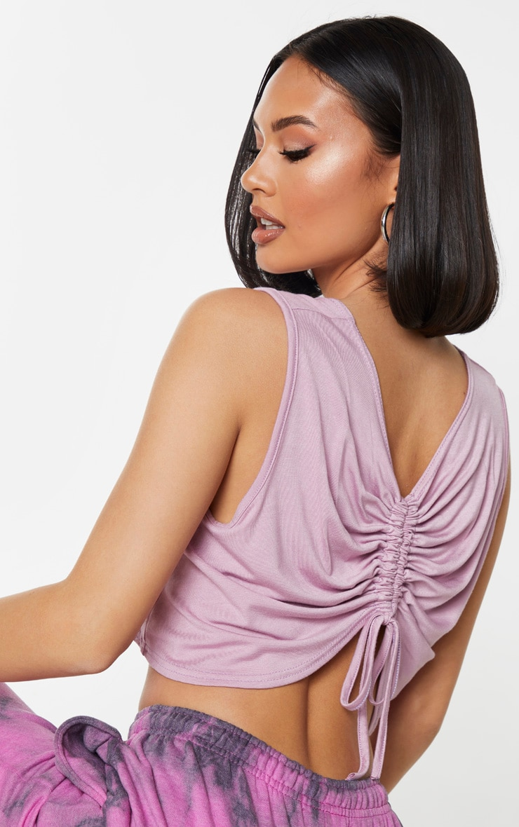 Lilac Jersey Ruched Back Crop Top 4