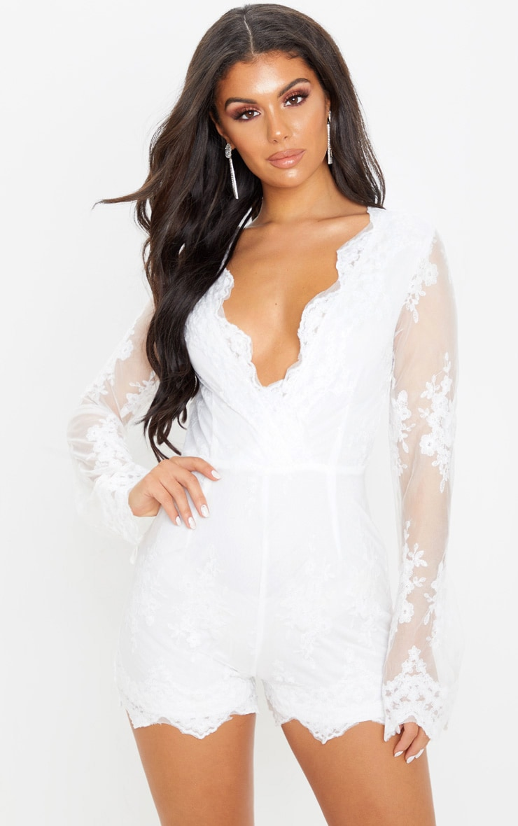Bella White Lace Bell Sleeve Playsuit  1