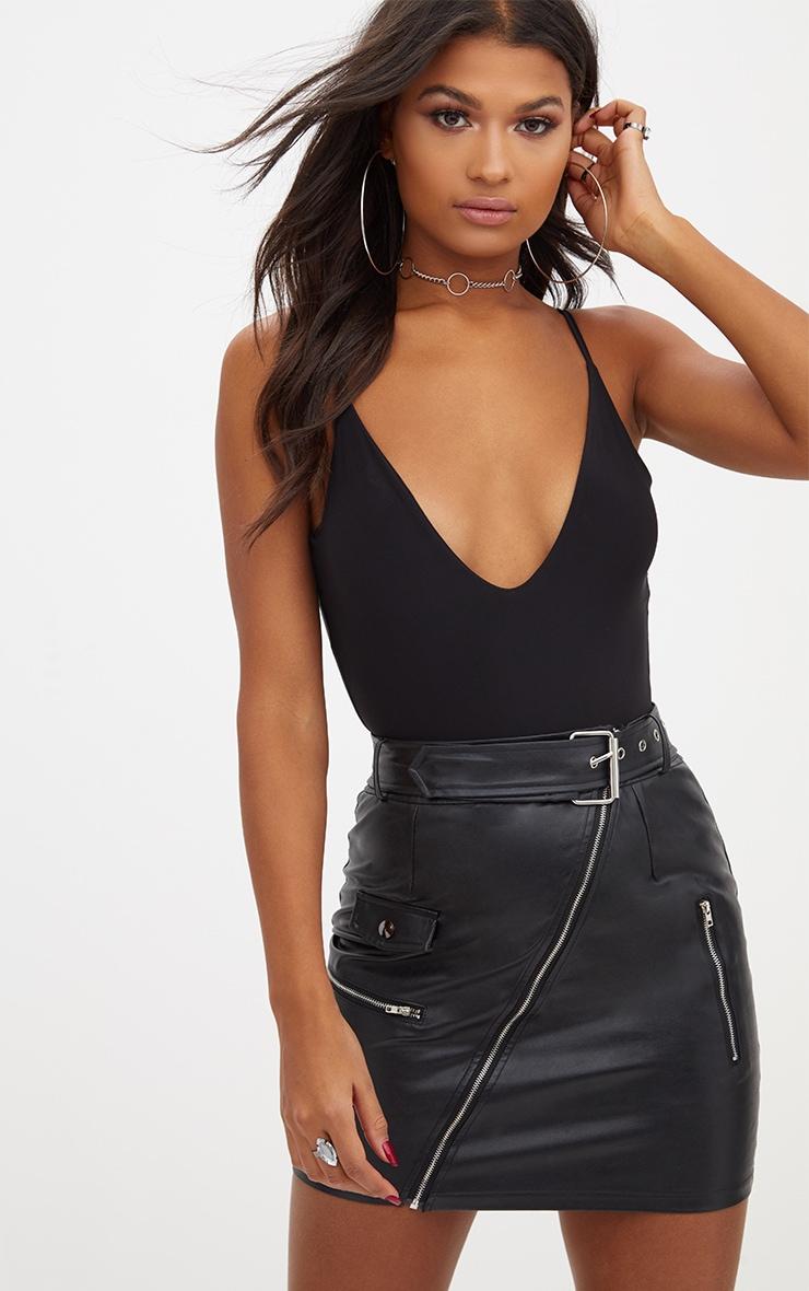 Black Slinky Deep Plunge Bodysuit 1