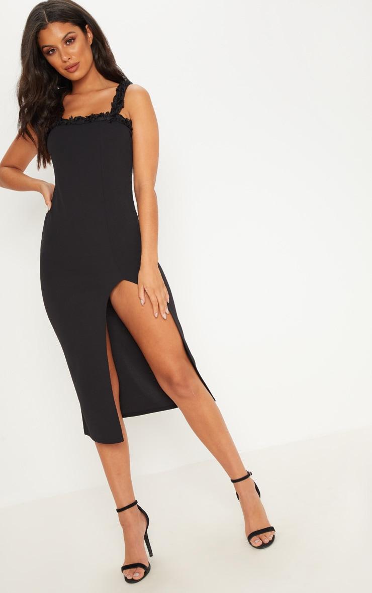 Black Flower Trim Split Midaxi Dress