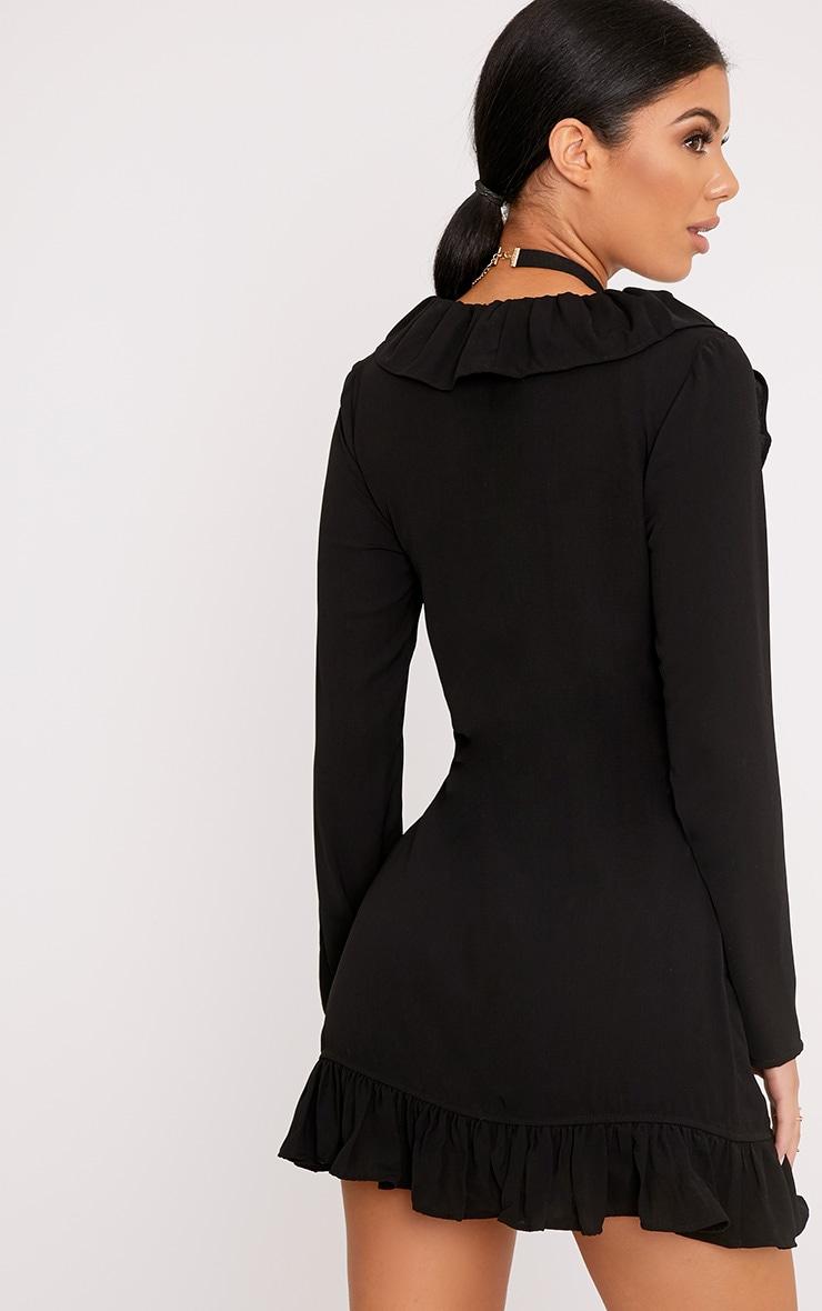 Neeko Black Frill Wrap Shift Dress 2