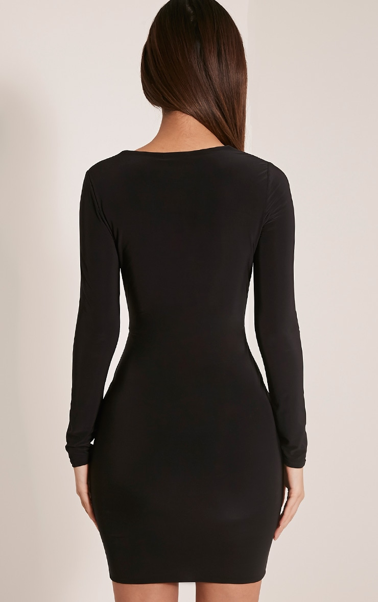 Zafia Black Long Sleeve Mini Dress 2