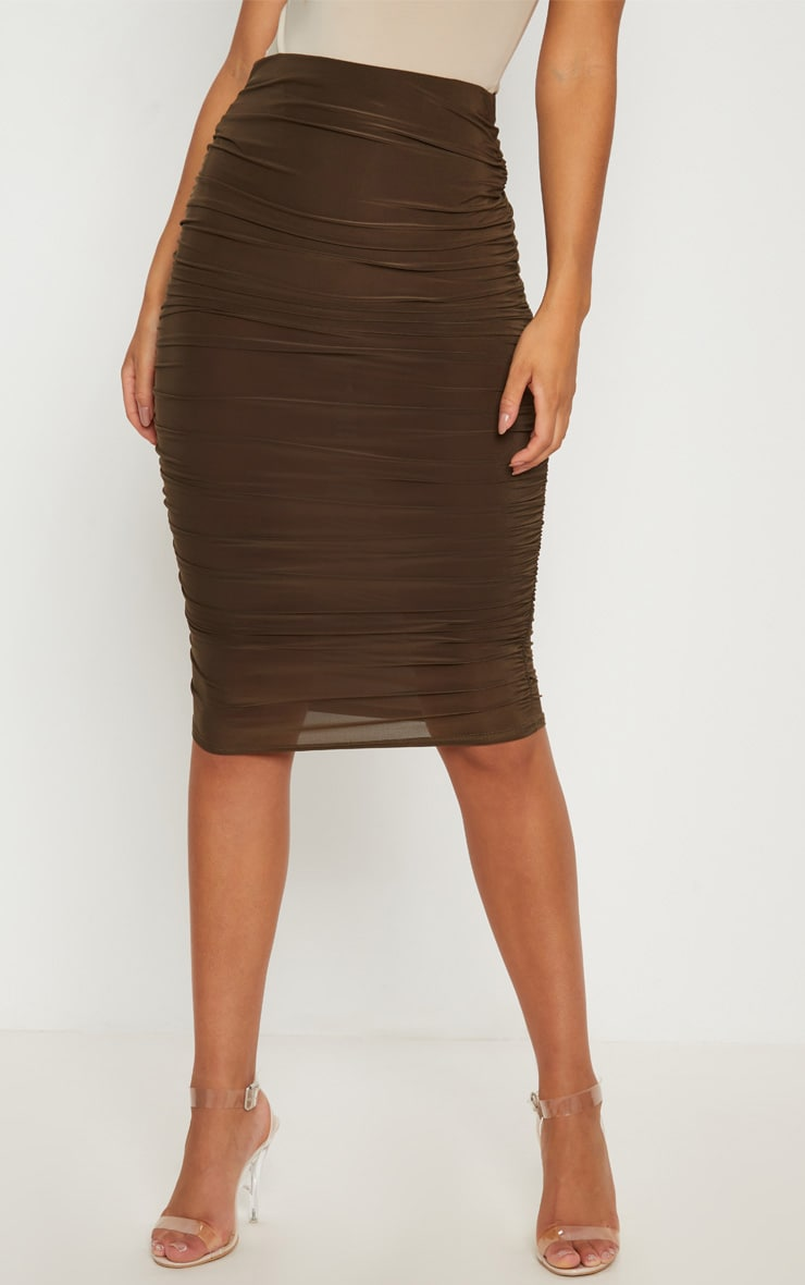 Khaki Second Skin Ruched Side Midi Skirt 2