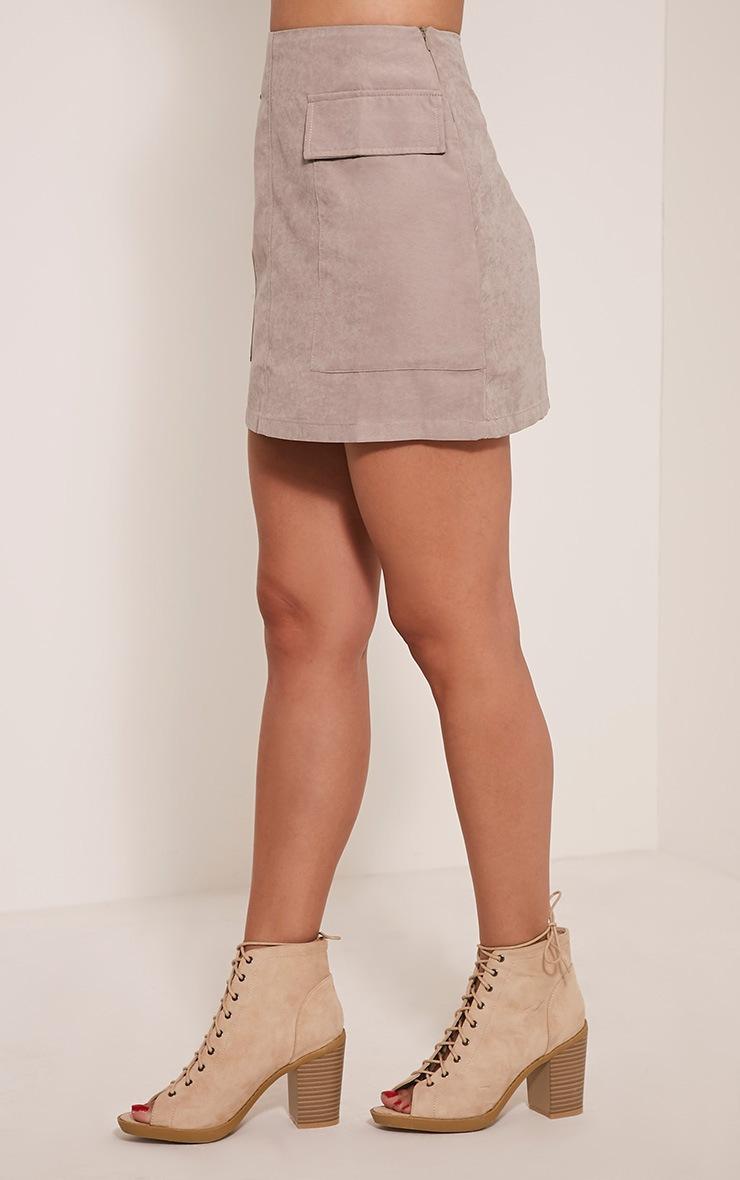 Lottie Grey Faux Suede Pocket Front Mini Skirt 4