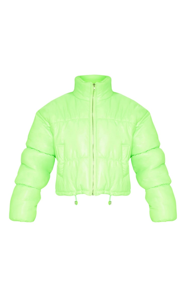 Neon Lime Cropped Puffer Jacket 3