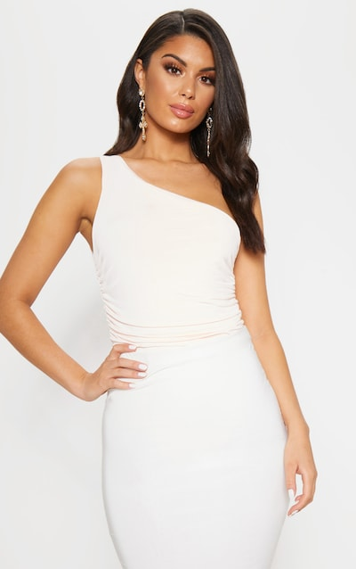 Nude One Shoulder Ruched Bodysuit fd04ae86c