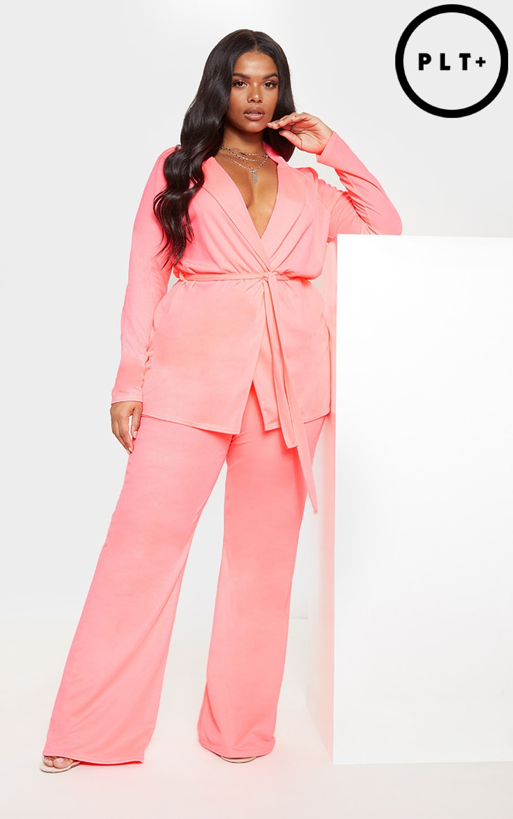 Plus Neon Pink Wide Leg Trouser  1
