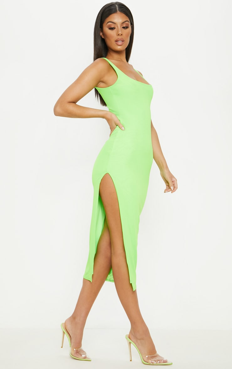 Neon Lime Mesh Split Leg Midi Dress 1