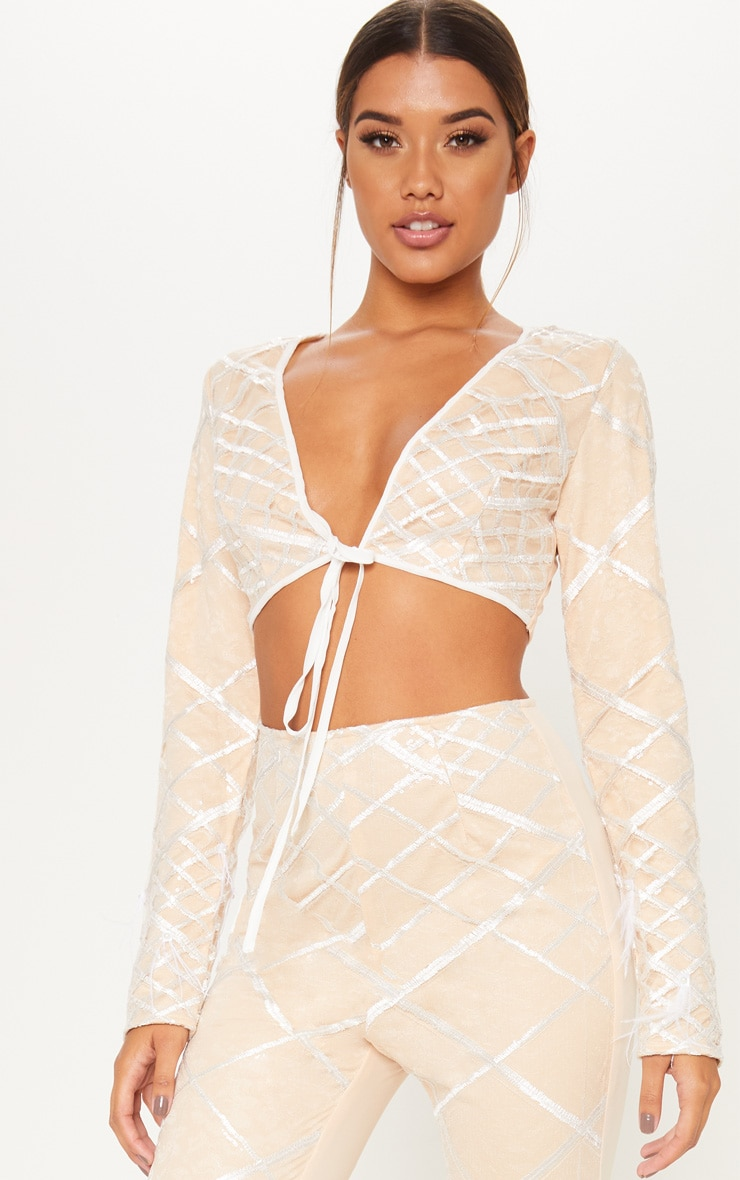 Nude Embroidered Sequin Frill Sleeve Crop Top