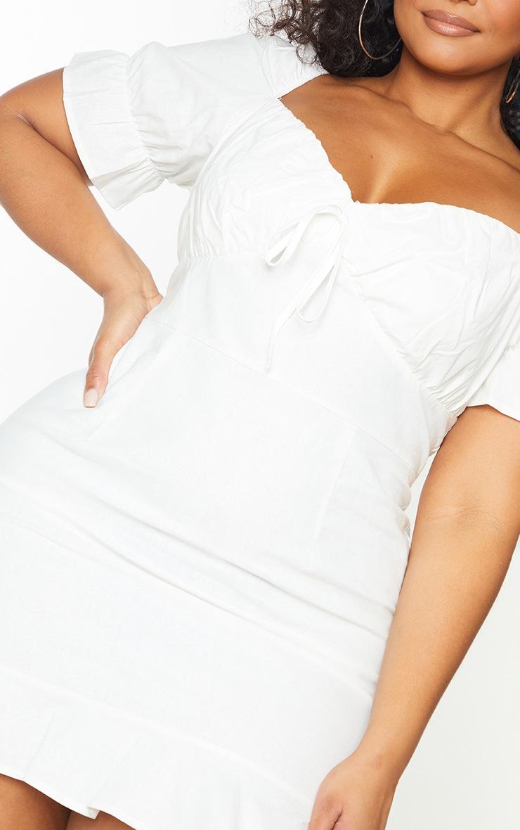 Plus White Woven Puff Sleeve Frill Hem Tea Dress 5