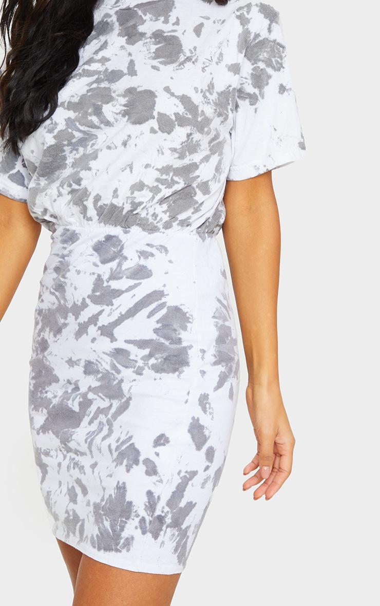 Charcoal Grey Tie Dye Elastic Waist T Shirt Dress 4
