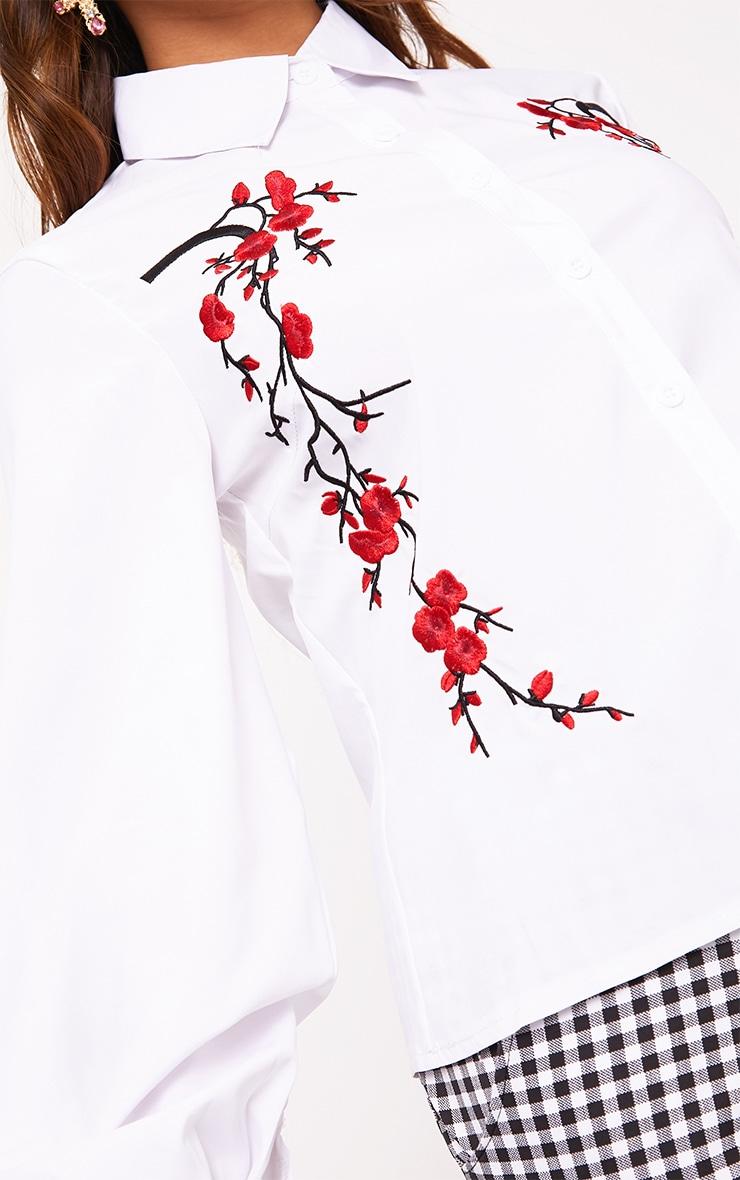 White Floral Applique Shirt 5