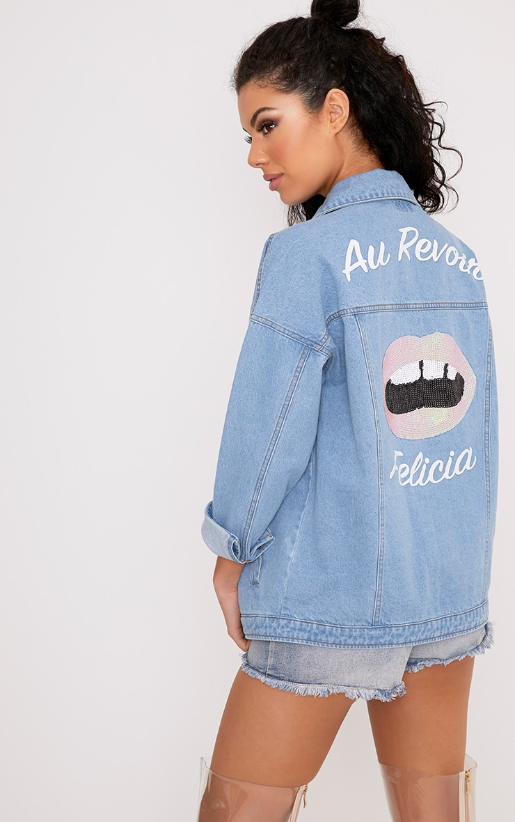 Christianae Mid Wash Au Revoir Felicia Over Sized Denim Jacket 1