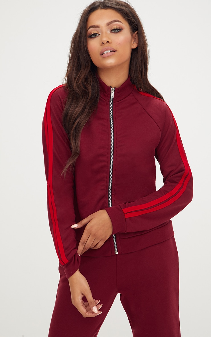 Burgundy Contrast Stripe Runner Jacket  1