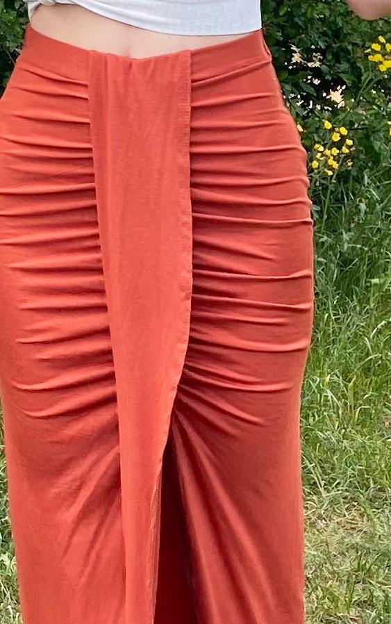 Rust Jersey Drape Front Midaxi Skirt 4